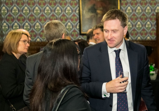 Minister Steve Brine MP speaking to APPG Vice-Chair Yasmin Qureshi MP