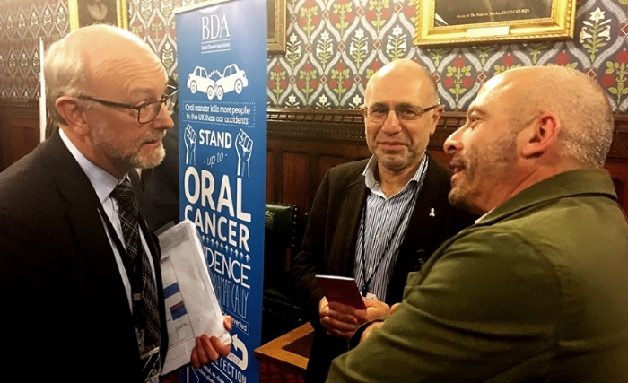 Alex Cunningham MP discussing the importance of HPV vaccinations with Peter Baker from HPV Action and oral cancer survivor Steve