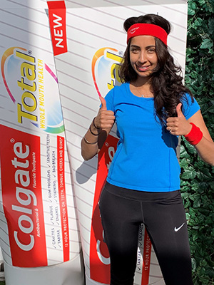 Combining two passions, dentistry and exercise at a Colgate event