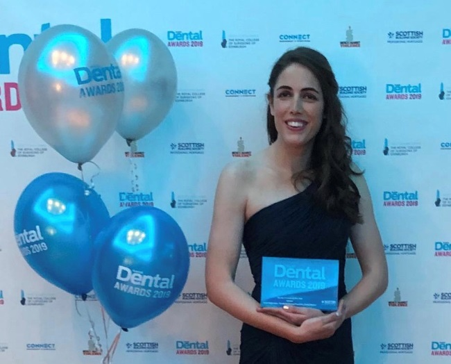 Jane Patterson with her Young Dentist of the Year award